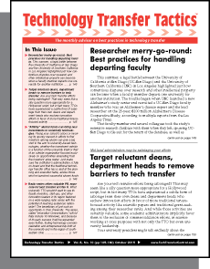 Technology Transfer Tactics, October 2015 cover