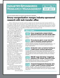 Industry-Sponsored Research Management, October 2017
