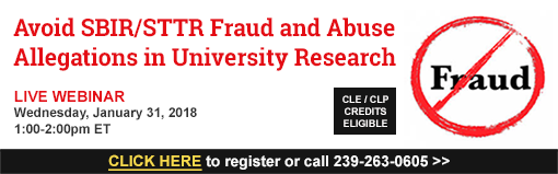 Avoid SBIR/STTR Fraud and Abuse Allegations in University Research