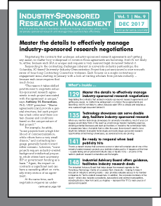 Industry-Sponsored Research Management, December 2017
