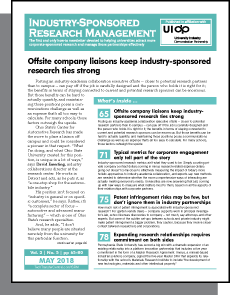 Industry-Sponsored Research Management, May 2018
