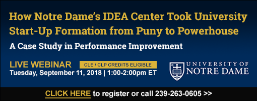 How Notre Dame's IDEA Center Took University Start-Up Formation from Puny to Powerhouse: A Case Study in Performance Improvement