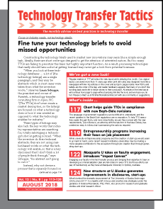 Technology Transfer Tactics, August 2018 Issue