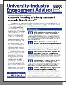 University-Industry Engagement Advisor, April 2019