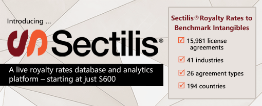 Sectilis® Royalty Rates to Benchmark Intangibles