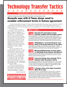 Technology Transfer Tactics, September 2020 Issue