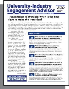 University-Industry Engagement Advisor, February 2021