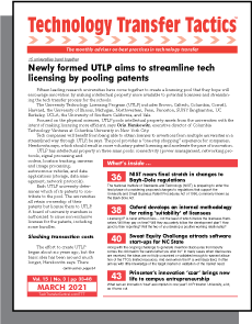 Technology Transfer Tactics, March 2021 Issue