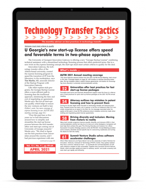 Technology Transfer Tactics, April Issue