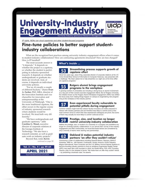 University-Industry Engagement Advisor, April 2021