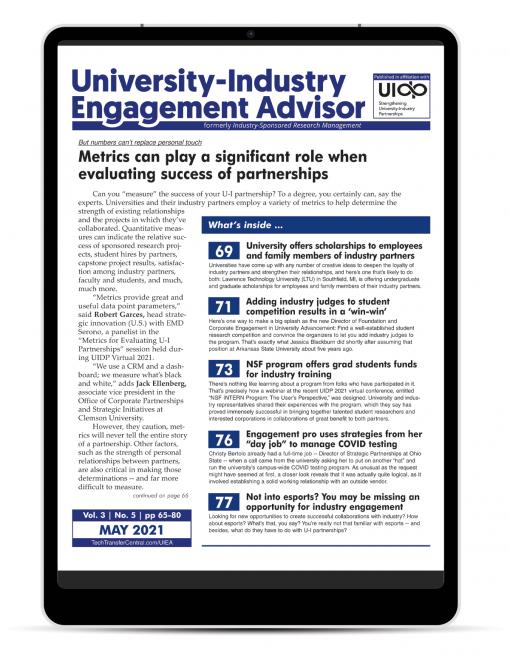 University-Industry Engagement Advisor, May 2021